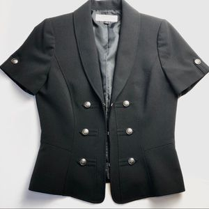 TAHARI Arthur S Levine Black Short Sleeve Blazer